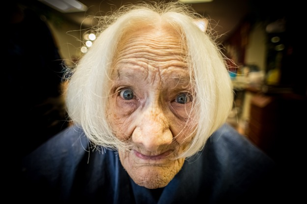 Grandma models her new hairdo.