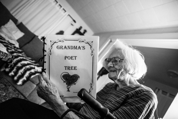 Grandma reads from her book of poetry.