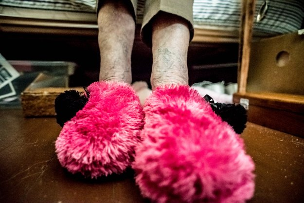 Grandma's fuzzy pink slippers make a lot of noise at night.