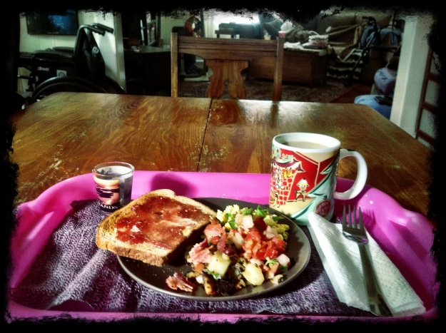 Scrambled eggs, hash browns, salsa, bacon, toast with jam, coffee and meds.
