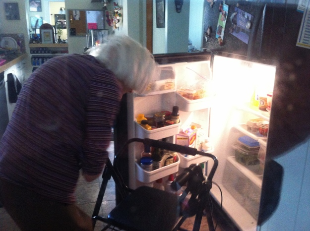 Grandma gets into the refrigerator as seen from my  new home office (which has a window into the kitchen).