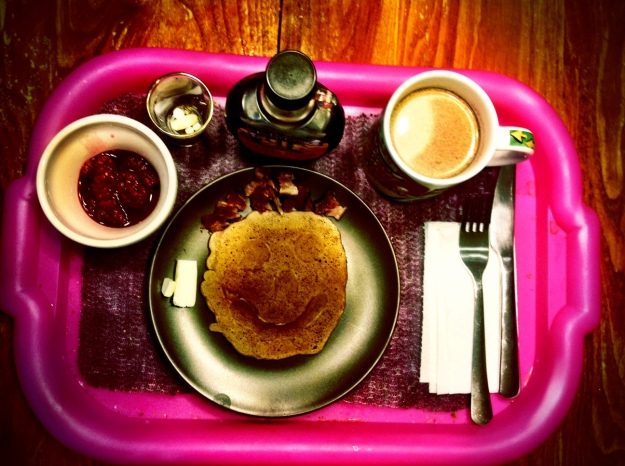 Grandma's Brunch:  Raspberry Hot Cocoa Pancakes, bacon, coffee, raspberries and meds.