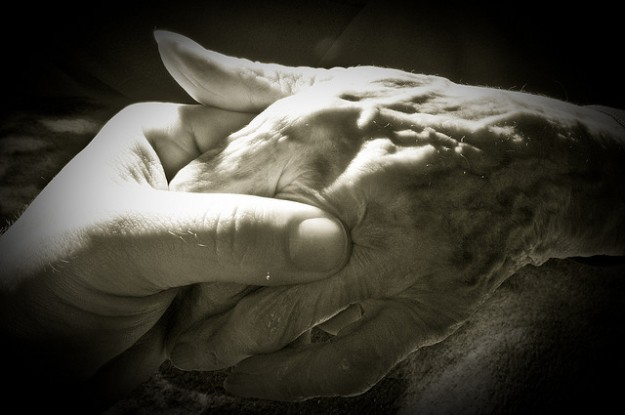 Holding Grandma's hand.