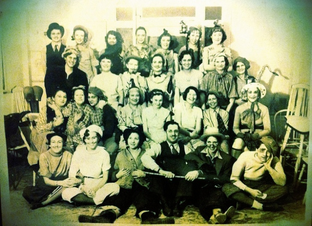 Granmda's beauty school class.  Grandma is in the center in the back.