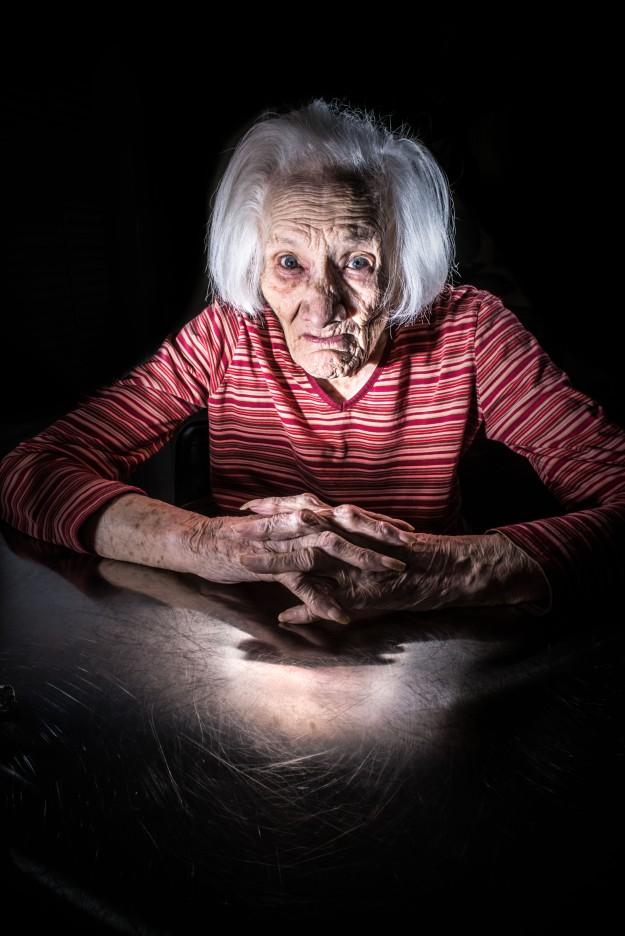 Grandma, reflected.