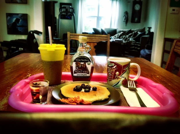 Ginger cardamom blueberry pancakes, bacon, hot cocoa, banana strawberry smoothie and meds.  Breakfast of centenarian champions.