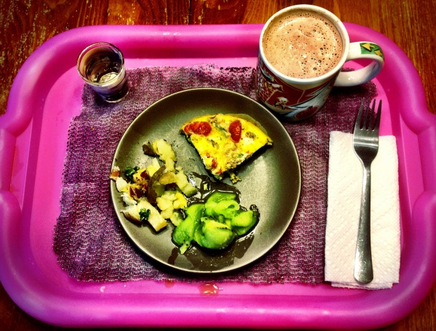 Asparagus, Goat Cheese, bacon and garlic frittata, kiwi fruit and twice-baked potato with cheese, hot cocoa and meds.
