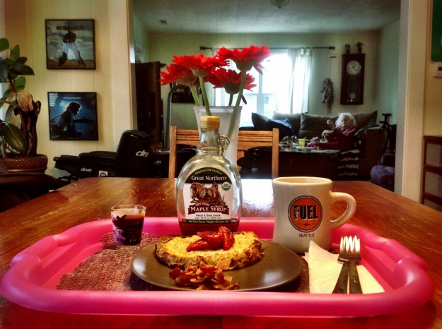 Strawberry French Toast, bacon, coffee and meds.  Grandma waves from the background.