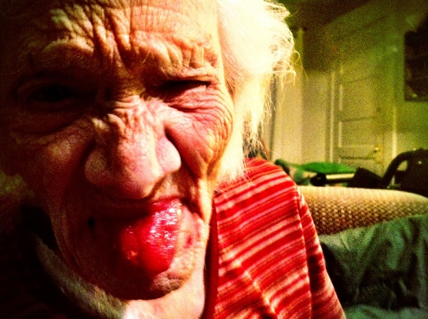 "Grandma shows off her ""candy tongue""."