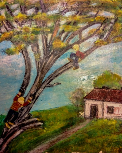 Boys Climbing Tree: I think this is my favorite of Grandma's paintings.