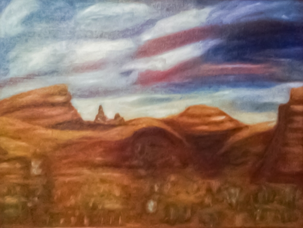 Desert Sunset: This painting hangs above Grandma's bed and is one of her favorites.