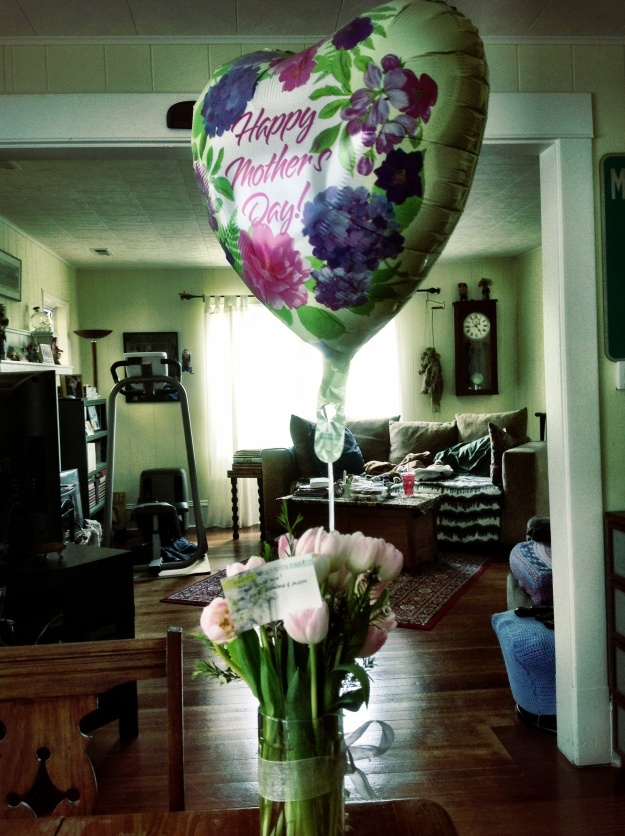 My brother and sister-in-law sent Grandma this bouquet with balloon and candy for Mother's Day.